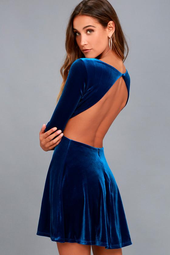 luxe velvet dress royal blue dress open back dress