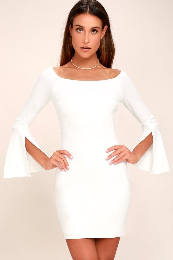 Marseille White Off-the-Shoulder Long Sleeve Bodycon Dress 1
