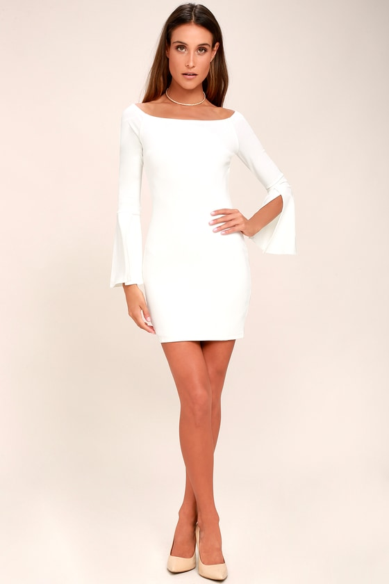 16443ef1909 Marseille White Off-the-Shoulder Long Sleeve Bodycon Dress