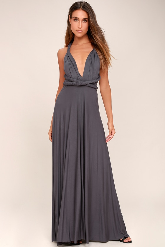 LULUS Exclusive Tricks of the Trade Dark Grey Maxi Dress 3