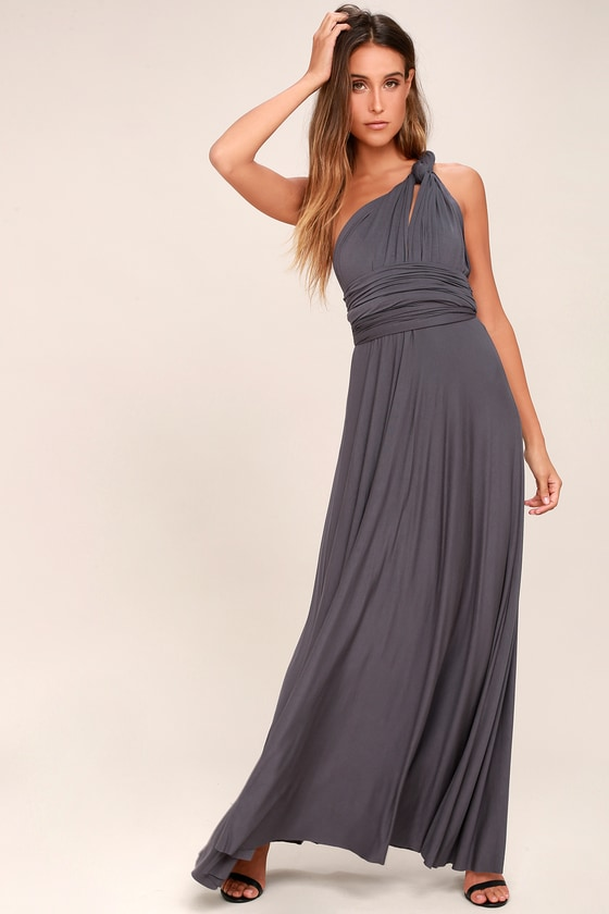 9744288cbb8c Awesome Dark Grey Dress - Maxi Dress - Wrap Dress