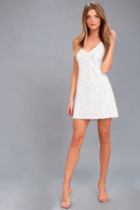 8cd33cc22684 Sexy White Sequin Dress - Backless Dress - Sequin Mini Dress