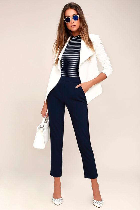 7c05cbe8238 Chic Navy Blue Pants - Trouser Pants - Dress Pants