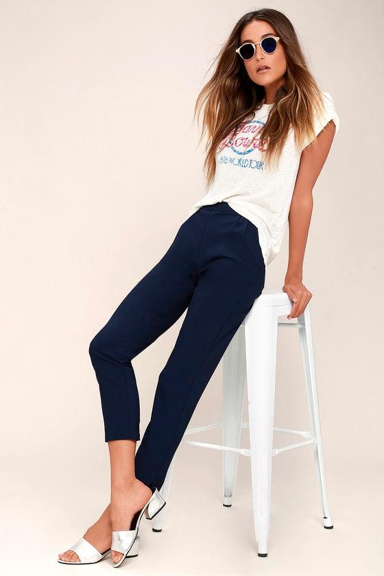 7db638aa5 Chic Navy Blue Pants - Trouser Pants - Dress Pants