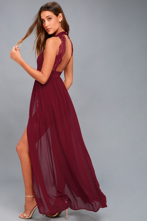 My Beloved Burgundy Lace Maxi Dress by Lulus