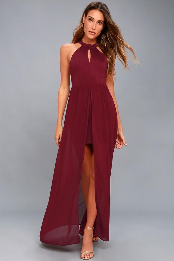 fb363309c9ac Lovely Burgundy Dress - Maxi Dress - Lace Dress