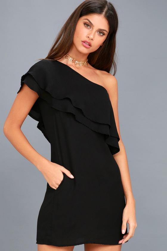 My World Black One-Shoulder Shift Dress 1