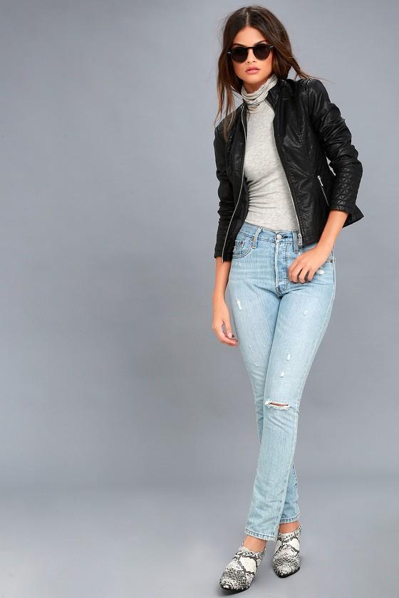 Heartlines Black Vegan Leather Moto Jacket
