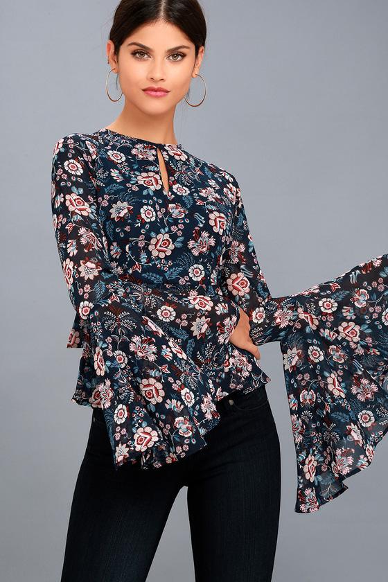 Odine Navy Blue Floral Print Long Sleeve Top 6