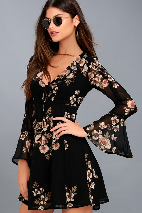 Crystal Black Floral Print Long Sleeve Dress