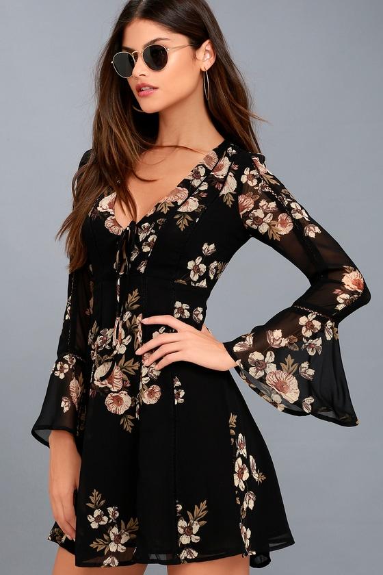 3d114694f5 ASTR the Label Crystal - Black Floral Print Dress