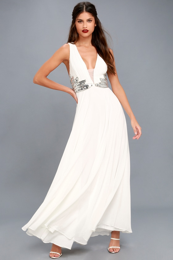 Neverending Love White Sequin Maxi Dress 1