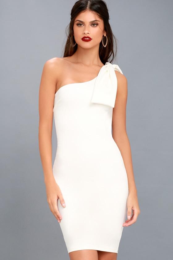 bdf1f334d Chic White Dress - Bodycon Dress - One-Shoulder Dress