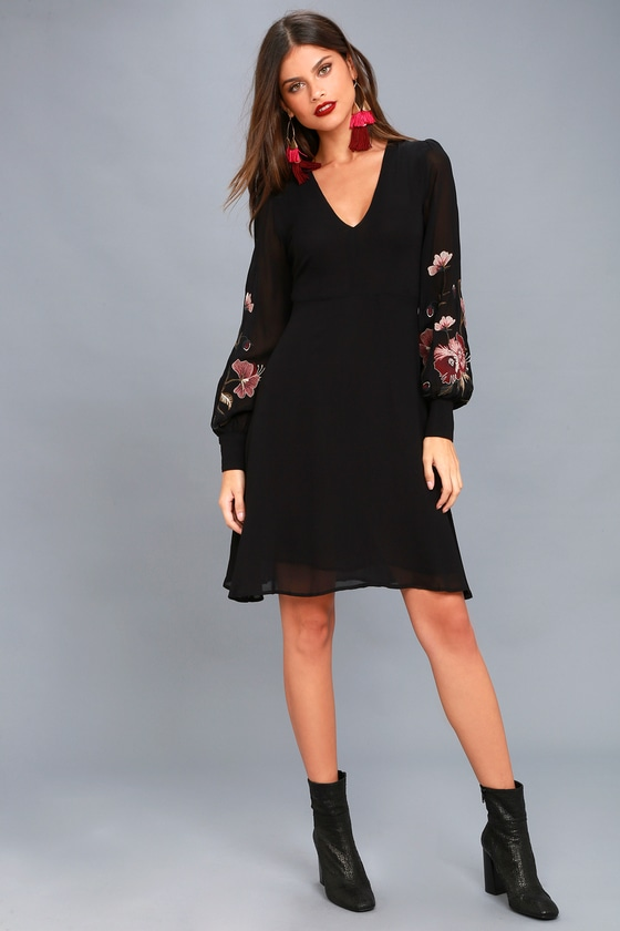 bd067f9b1ee ASTR the Label Holly - Black Embroidered Long Sleeve Dress