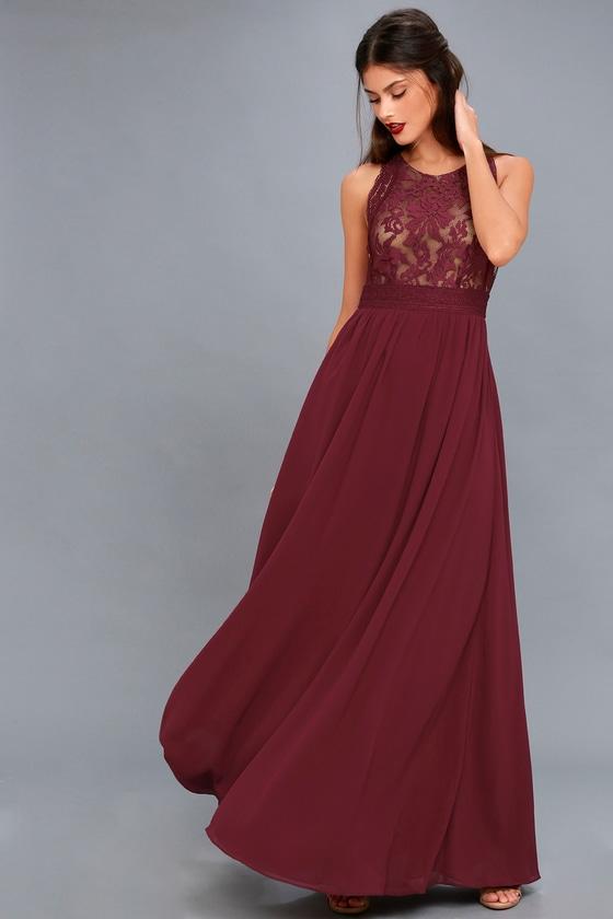 9b5f8a431dca Lovely Burgundy Dress - Lace Dress - Lace Maxi Dress