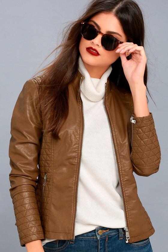 Heartlines Brown Vegan Leather Moto Jacket