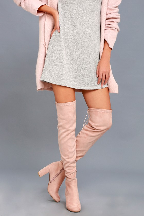 Krush Pink Suede Over-the-Knee Boots 5