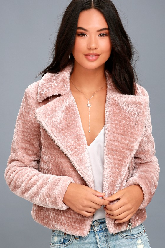 Lulus - Cozy Business Blush Pink Faux Fur Moto Jacket - Size Large - 100% Polyester