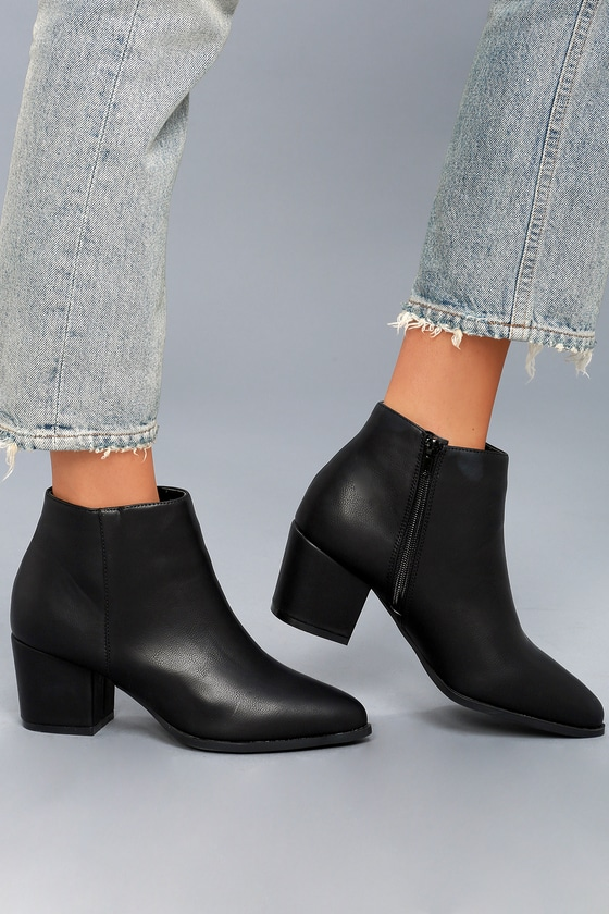 Lorna Black Pointed Toe Ankle Booties 6