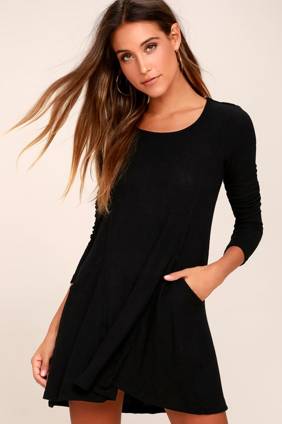 Pretty as a Picture Black Long Sleeve Swing Dress 4