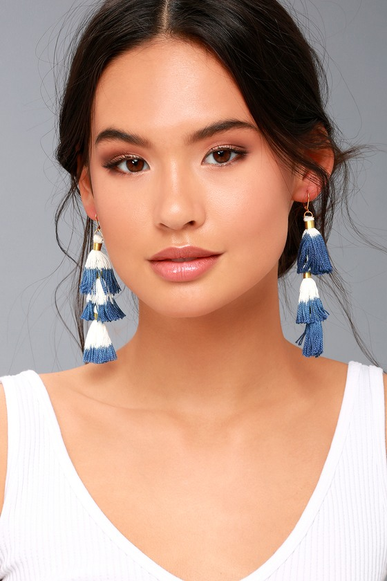 Ombre Blue and White Tassel Earrings 3