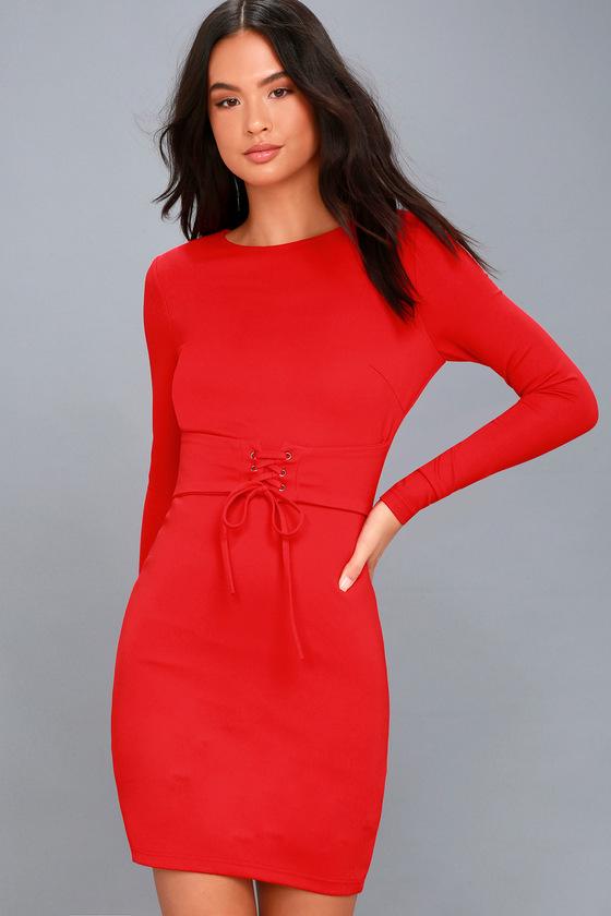 Red Dress - Bodycon Dress - Lace-Up Dress