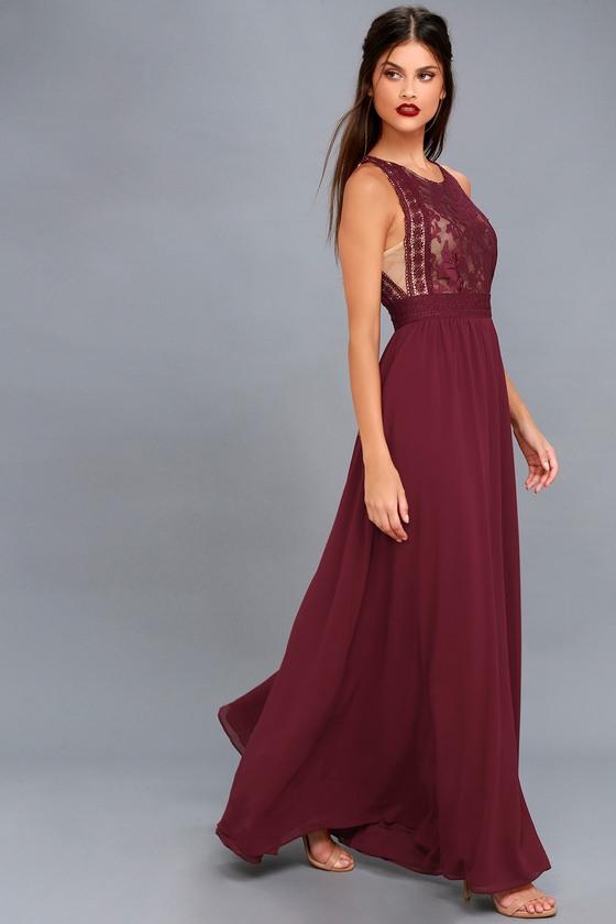 9e5cd62b4074 Lovely Burgundy Dress - Lace Dress - Lace Maxi Dress