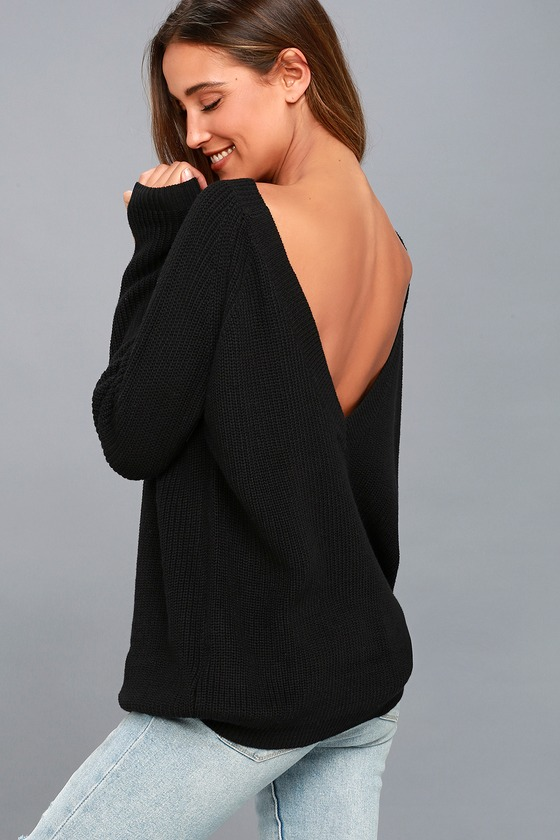 Just For You Black Backless Sweater 8