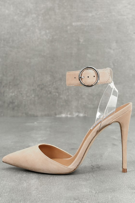 Diva Blush Suede Leather Lucite Heels 1