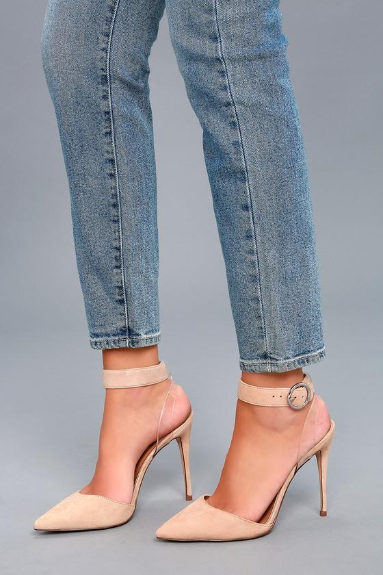 Steve Madden Diva Heels - Blush Suede Heels - Lucite Heels