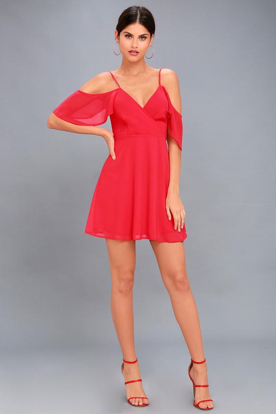 4c06735c01 Chic Red Dress - Off-the-Shoulder Dress - Skater Dress