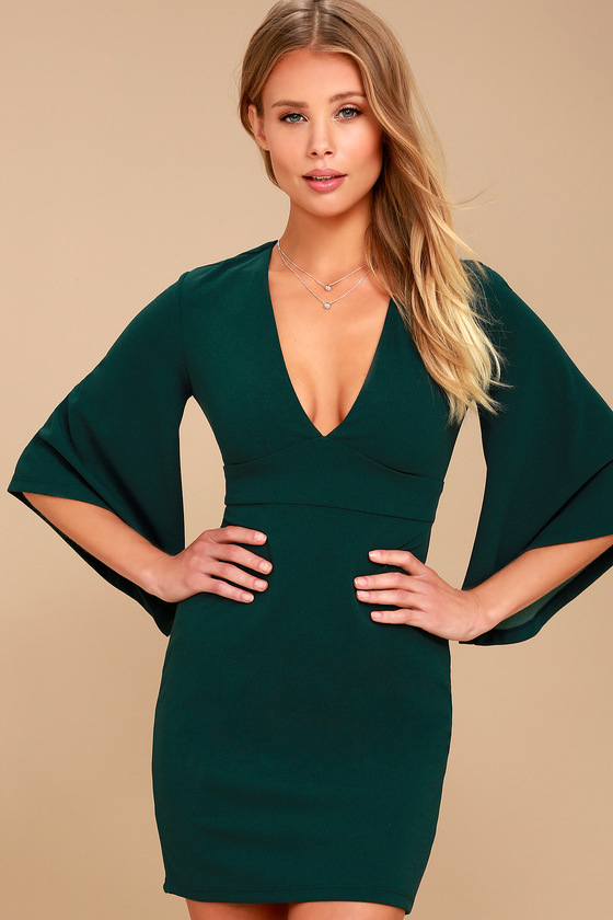 Chic Bell Sleeve Dress - Forest Green Dress - Plunging Dress