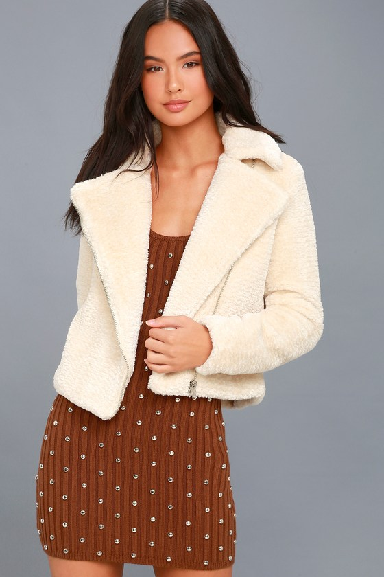Lulus / Cozy Business Cream Faux Fur Moto Jacket / Size Large / White / 100% Polyester