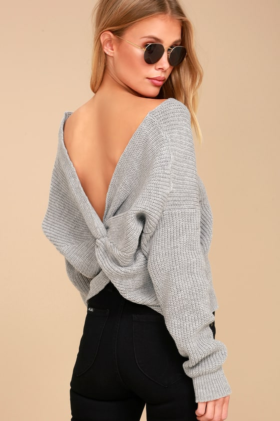 Sage the Label Heart Throb - Grey Cropped Sweater