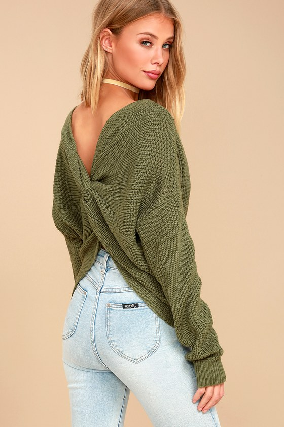 Heart Throb Olive Green Cropped Knit Sweater 6