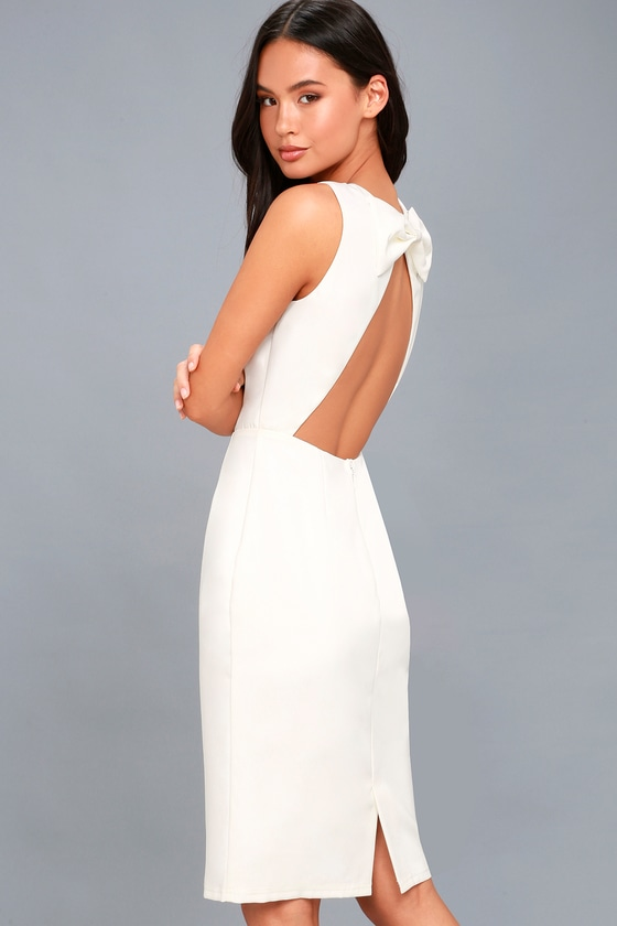 Be Mine White Open Back Midi Dress 2