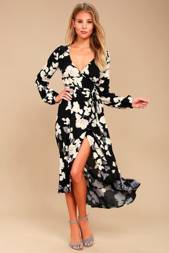Floral Fever Black Floral Print Wrap Maxi Dress 2