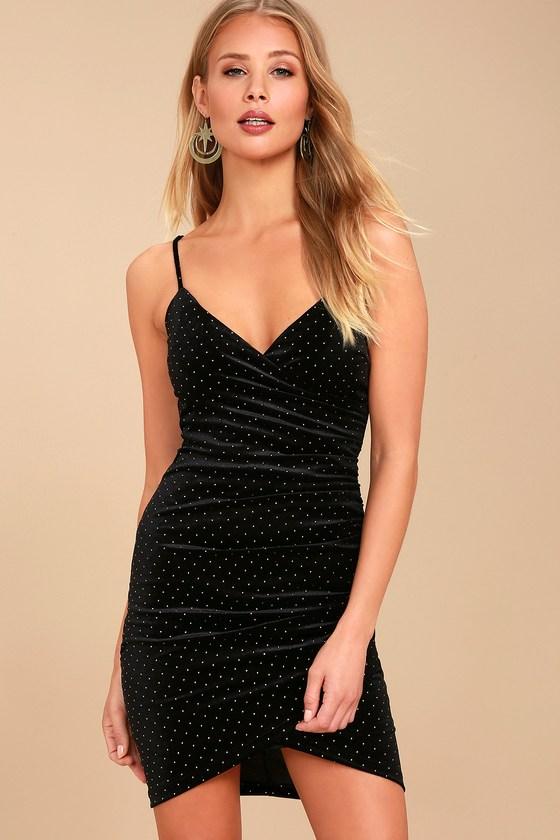 2e7d5c4e51a Sexy Studded Dress - Black Velvet Bodycon Dress - Wrap Dress