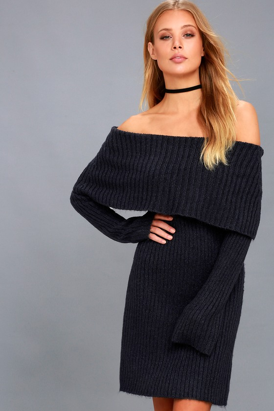 bbe127b56486 RD Style Navy Bllue Sweater Dress - Off-the-Shoulder Dress