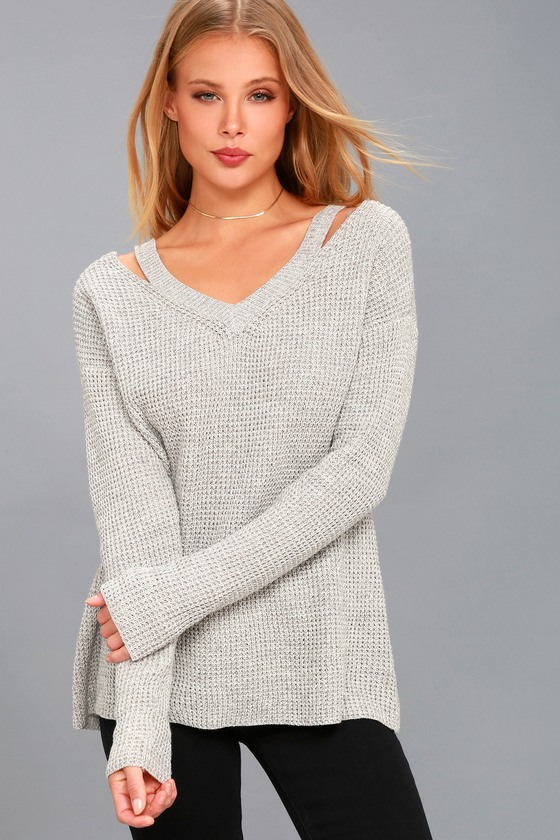 Little of Your Love Grey Cutout Knit Sweater 1