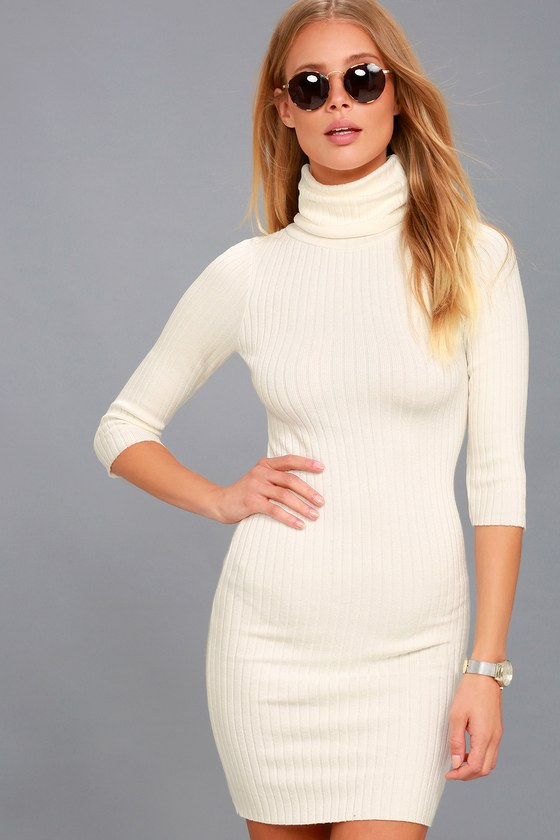 Cozy Sweater Dress - Ivory Sweater Dress - Bodycon Dress
