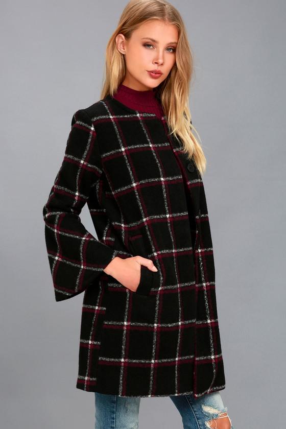 Hewes Black Plaid Print Flounce Sleeve Coat 1