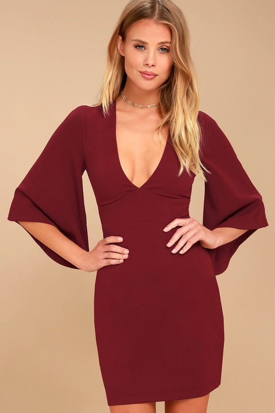 9cf7b377b2e2 Chic Bell Sleeve Dress - Wine Red Dress - Plunging Dress
