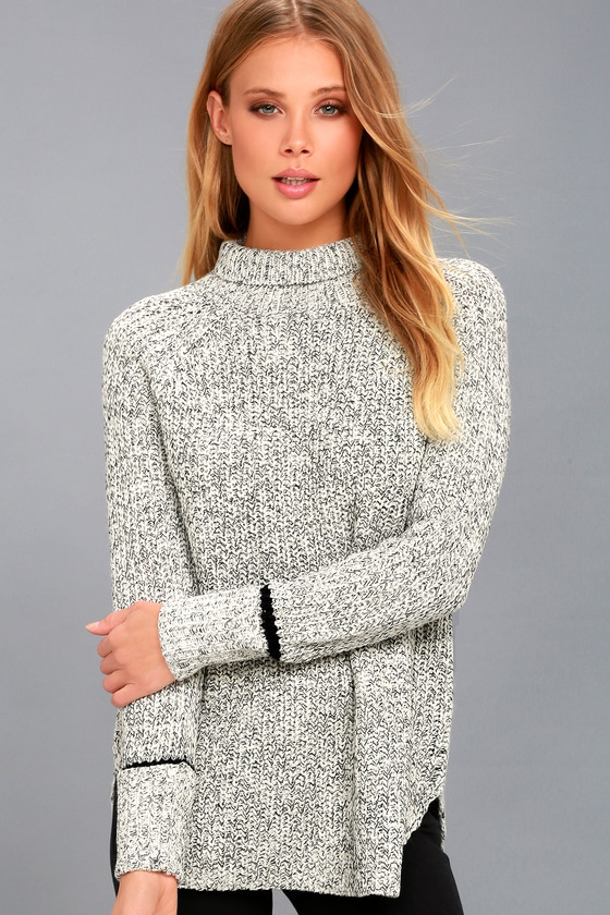 Cozy Black and White Sweater - Knit Turtleneck Sweater