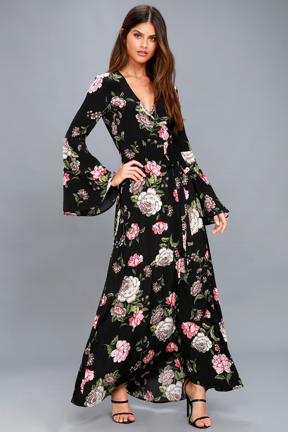 21b39d405 Lovely Black Floral Print Dress - Wrap Dress - Maxi Dress