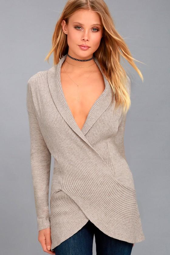 Ariela Heather Beige Wrap Sweater Top 3