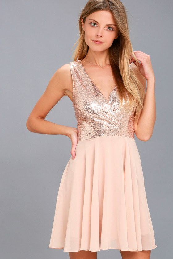 Sparkle and Shine Rose Gold Sequin Skater Dress 1