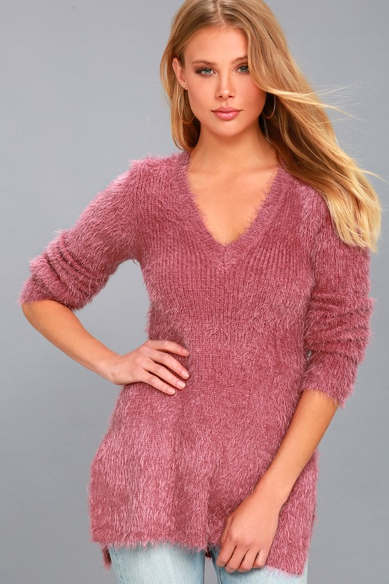 Pam Mauve Pink Eyelash Knit Sweater 3