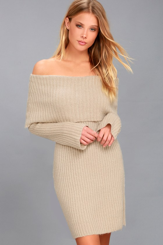 The Rd Knit Beige Off Shoulder Style Sweater Dress ED29HI
