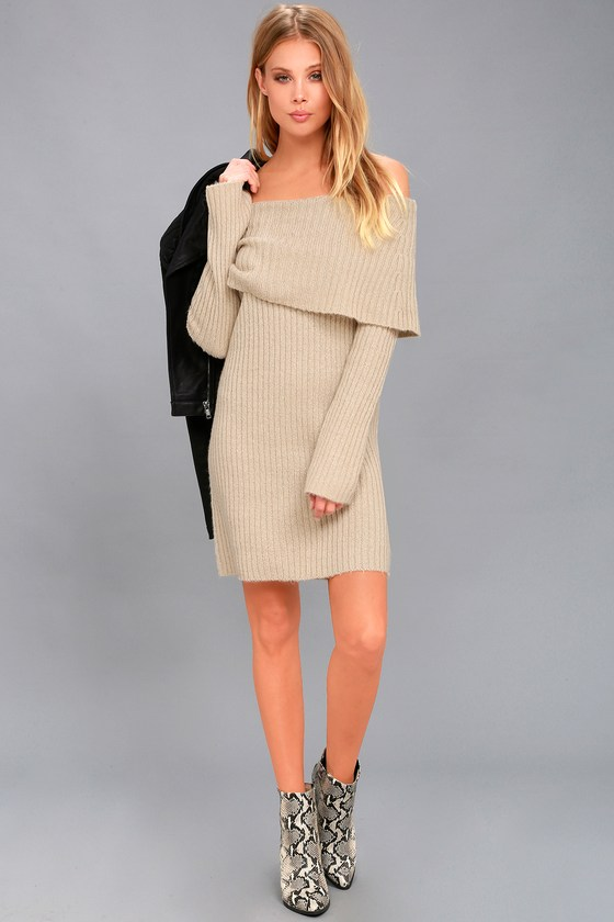 9623f32e576 RD Style Beige Sweater Dress - Knit Off-the-Shoulder Dress